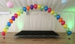 Rainbow balloon arch at Ivy House Country Hotel